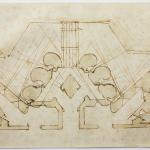Michelangelo Buonarroti (Caprese 1475-Roma 1564)<br />Studio di fortificazioni per una porta<br />1529<br />matita rossa, penna, acquerellature marroni, mm 240x408<br />Firenze, Casa Buonarroti, inv. 25 A