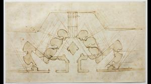 Michelangelo Buonarroti (Caprese 1475-Roma 1564) Studio di fortificazioni per una porta  1529 matita rossa, penna, acquerellature marroni, mm 240x408 Firenze, Casa Buonarroti, inv. 25 A